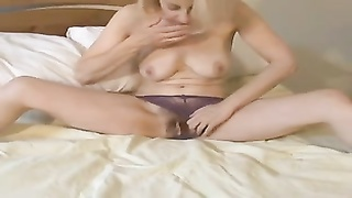 remarkable  British milf Wakes Up And toys Her labia boring!