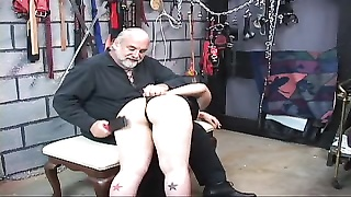 short haired slave gets creep and sat on floor