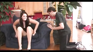 youthful princess expend old masculine  feet slave