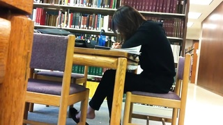 candid asian Library Feet Shoeplay Flats suspending Pt 1