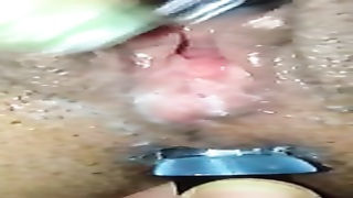 rubbing her vagina tedious and has a fake penis  in her booty stupid!