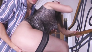 Busty-Brunette-MILF ass fucking taken by young man