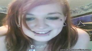 Emo teen blows On Webcam