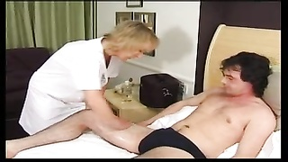 petite yellow-haired granny Gets Creampie and Facial
