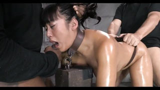 oriental girl bound, gagged, banged and creampied