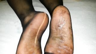 spunk  after nylon feet my girlfriend