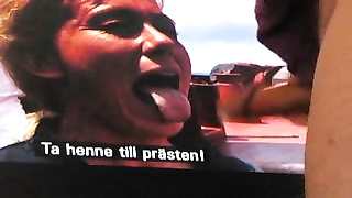 big stream  of cum in the mouth of swedish TV-host