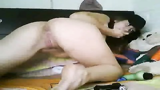 Spanish babe on webcam 2 fake penises