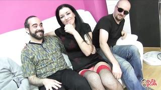 Spanish milf gets gangbanged