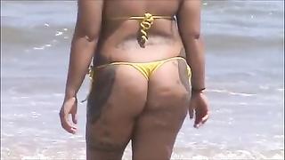 candid spanish milf booty in micro bikini at beach 46
