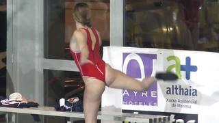 Spanish waterpool booty exposing two