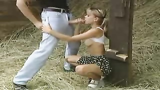German teenage  gets penetrated in the barn