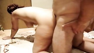 huge-boobed  German Mom drilled rear end  and creampied