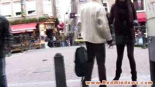 Dutch hooker throating on a tourists stiffy