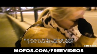 lovely blonde Czech student is paid for sex in public