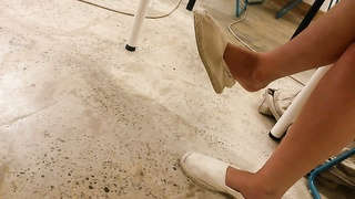 My ex-gf adorable  feet in toms with crushed heels - candid