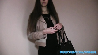 PublicAgent Brunette stunner with pretty bod plumbs for cash