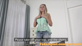 FakeAgent handsome blondy with improbable titties gets drilled hard and creamed over