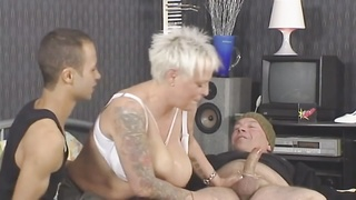 Blonde-Shorthair Tattoo-BBW-Goddess banged by two  studs