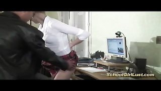 threesome with silly schoolgirl