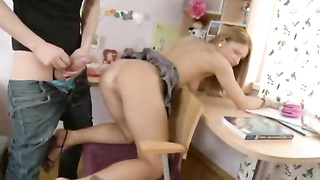 super hot Student at home work