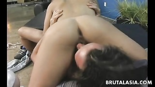 blondie asian whore rails  the man sausage so she ejaculates