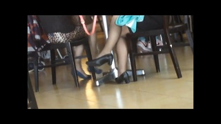 impersonal Asians sexy Shoeplay Feet in Nylons at Airport