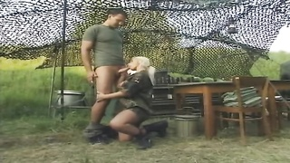lady soldier gets her bootie drilled