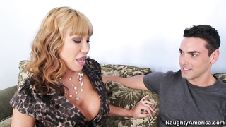 huge-titted mom giving head to her son's mate