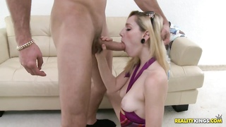 youthfull  blondie Rylie deep-throating and sliding on a tubby pecker