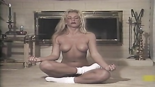 2 damsels  with ideal  figures in erotic yoga lesson