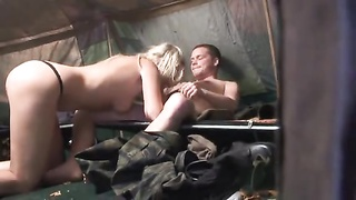 Euro damsel gets double nailed in a tent