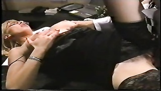 Office damsel gets her labia and butt plumbed, glasses spunked