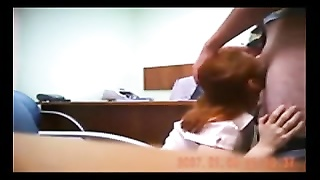 Hidden cam catches redhead in quick office pound