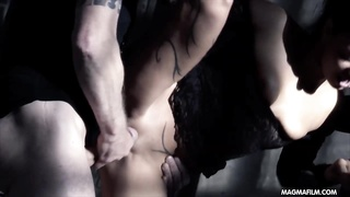 MAGMA movie steamy German tramp banged by 2 men in a dungeon