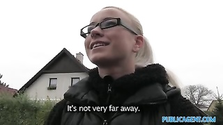 PublicAgent slutty blonde in glasses pummels