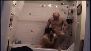 200163couple in the shower washing and screwing