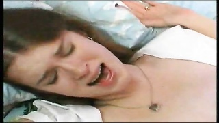 Brunette schoolgirl lets him in her youthfull  pussy