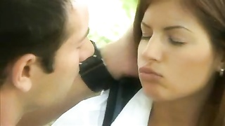 Schoolgirl in the woods turns him on