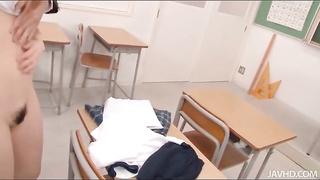 Schoolgirl disrobed and sucking his jizz-shotgun
