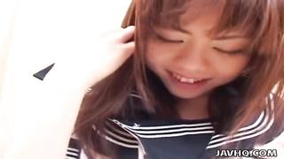 men slurp  and touch lovely Japanese schoolgirl