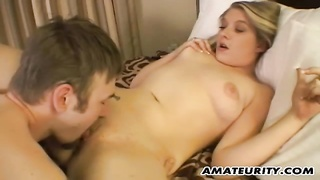 Very hot blondie fledgling  girlfriend in act