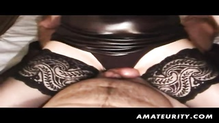 204033A lovely brunette amateur lady int his homemade action stupid! It starts with a hand job and then a