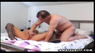 A lovely blonde fledgling  girlfriend homemade xxx  activity  with an old man listless! Ending with