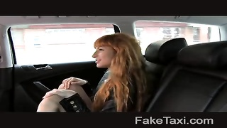 FakeTaxi - Long red hair and clean-shaved  snatch