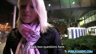 PublicAgent blonde drills stranger at home