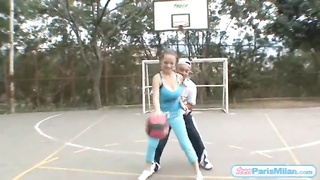 huge melons teen bouncing on the basketball court