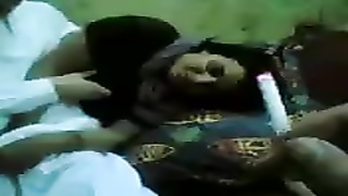 Cute Arab babe plays with his cock