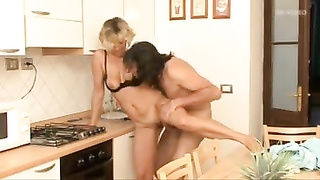 Housewife in kitchen smashed up her butt