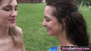 girls Out West - thin lesbians in the backyard